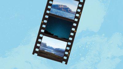 image of film reel - title card for Nunavut Day short film festival